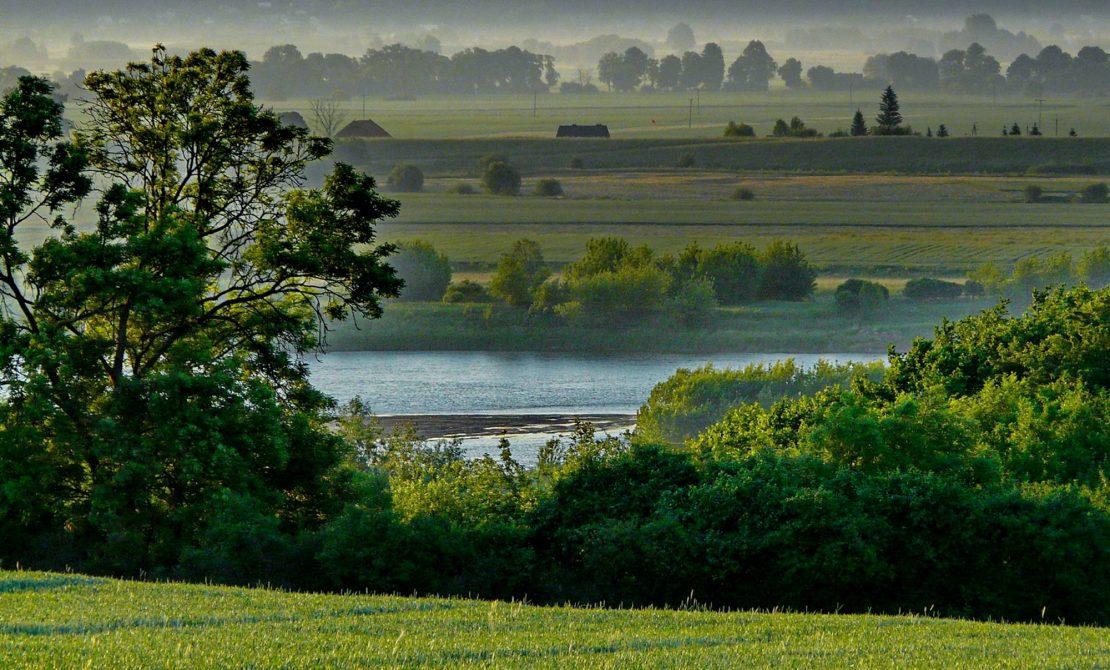 Poranek nad Wisłą w okolicy Gniewu, widok z trasy, EuroVelo9 / Wiślana Trasa Rowerowa