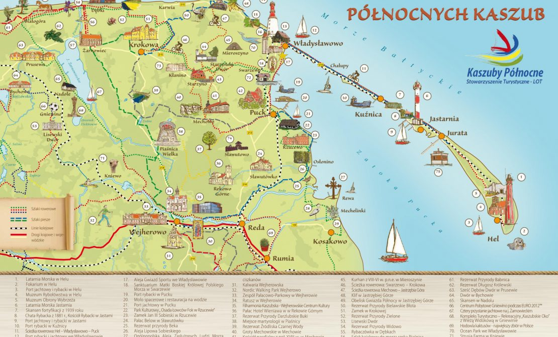 Mapa Szlaku Dworów i Pałaców Kaszób Północnych, foto LOT Kaszuby Północne