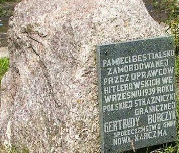 Obelisk ku czci Gertrudy Burczyk.